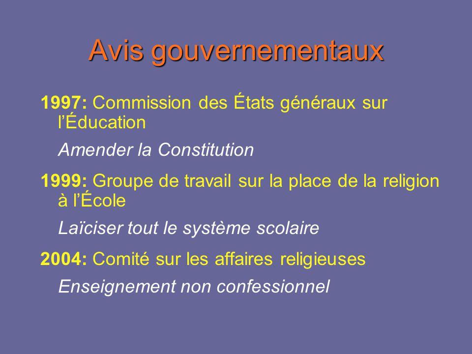 Changements législatifs 1997: amendement de la Constitution 2000: laïcisation des structures scolaires (loi 118) 2005: cours déthique et de culture religieuse (loi 95)