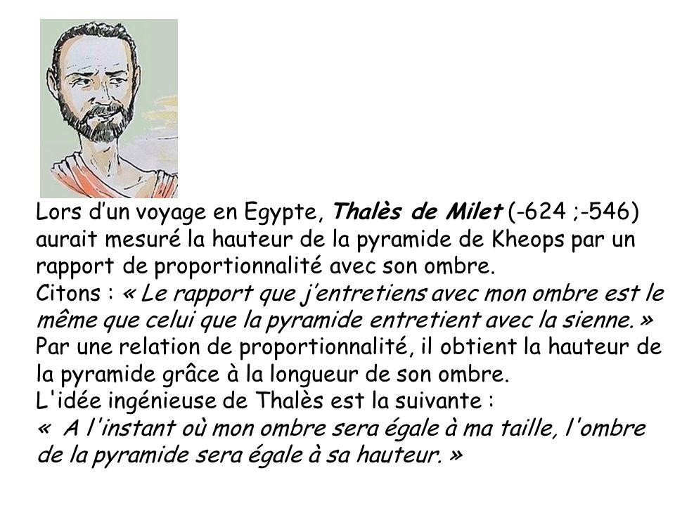 Lors dun voyage en Egypte, Thalès de Milet (-624 ;-546) aurait mesuré la hauteur de la pyramide de Kheops par un rapport de proportionnalité avec son