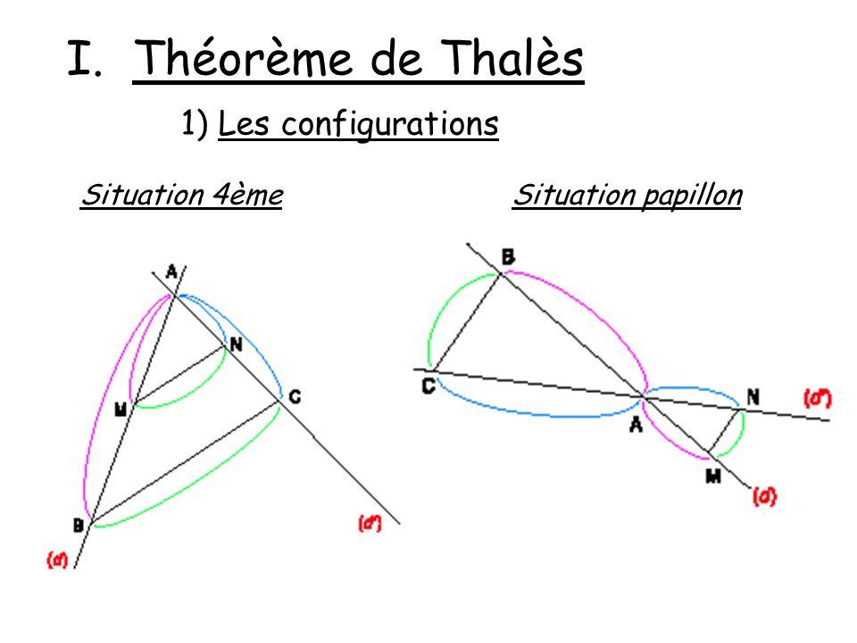 I. Théorème de Thalès 1) Les configurations Situation 4èmeSituation papillon