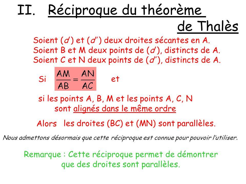II. Réciproque du théorème de Thalès Soient (d ) et (d ) deux droites sécantes en A. Soient B et M deux points de (d ), distincts de A. Soient C et N