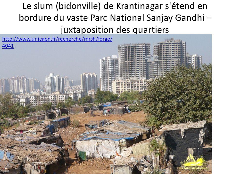 Le slum (bidonville) de Krantinagar s'étend en bordure du vaste Parc National Sanjay Gandhi = juxtaposition des quartiers http://www.unicaen.fr/recher