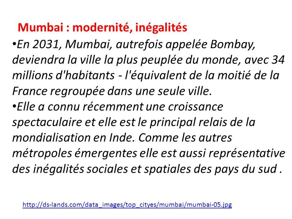Problématique : En quoi Mumbai symbolise-t-elle le dynamisme économique de lAsie du Sud et de lEst ainsi que les profondes inégalités de cet espace?