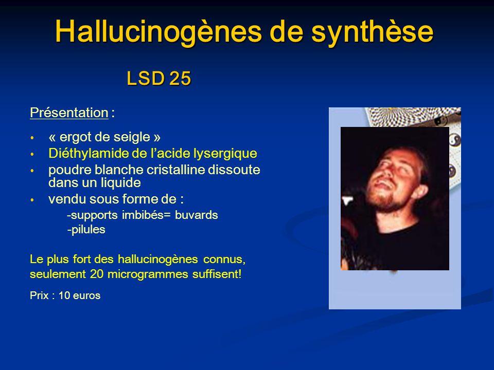 Hallucinogènes de synthèse LSD 25 Présentation : « ergot de seigle » Diéthylamide de lacide lysergique poudre blanche cristalline dissoute dans un liq