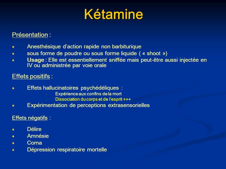 Kétamine Kétamine Présentation : Anesthésique daction rapide non barbiturique sous forme de poudre ou sous forme liquide ( « shoot ») Usage : Elle est