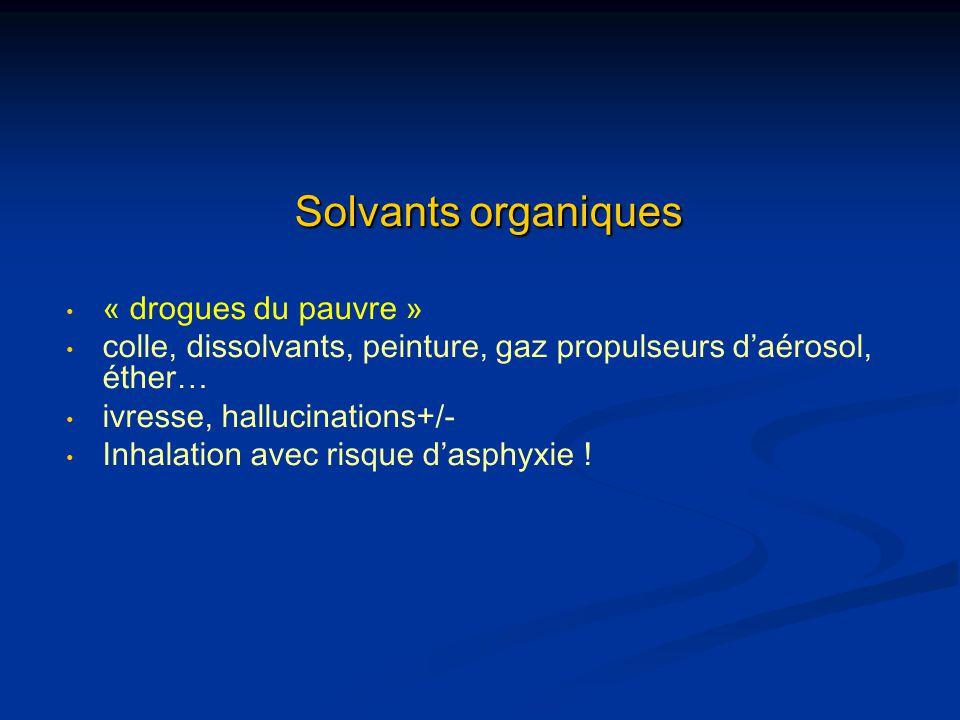 Solvants organiques « drogues du pauvre » colle, dissolvants, peinture, gaz propulseurs daérosol, éther… ivresse, hallucinations+/- Inhalation avec ri