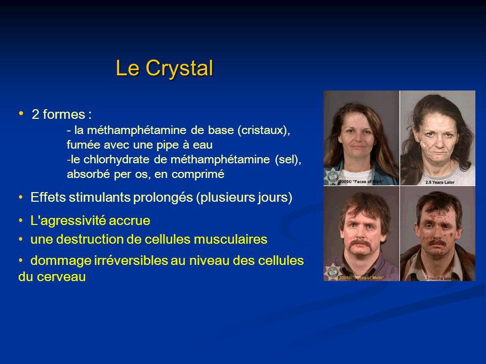 Le Crystal 2 formes : - la méthamphétamine de base (cristaux), fumée avec une pipe à eau -le chlorhydrate de méthamphétamine (sel), absorbé per os, en