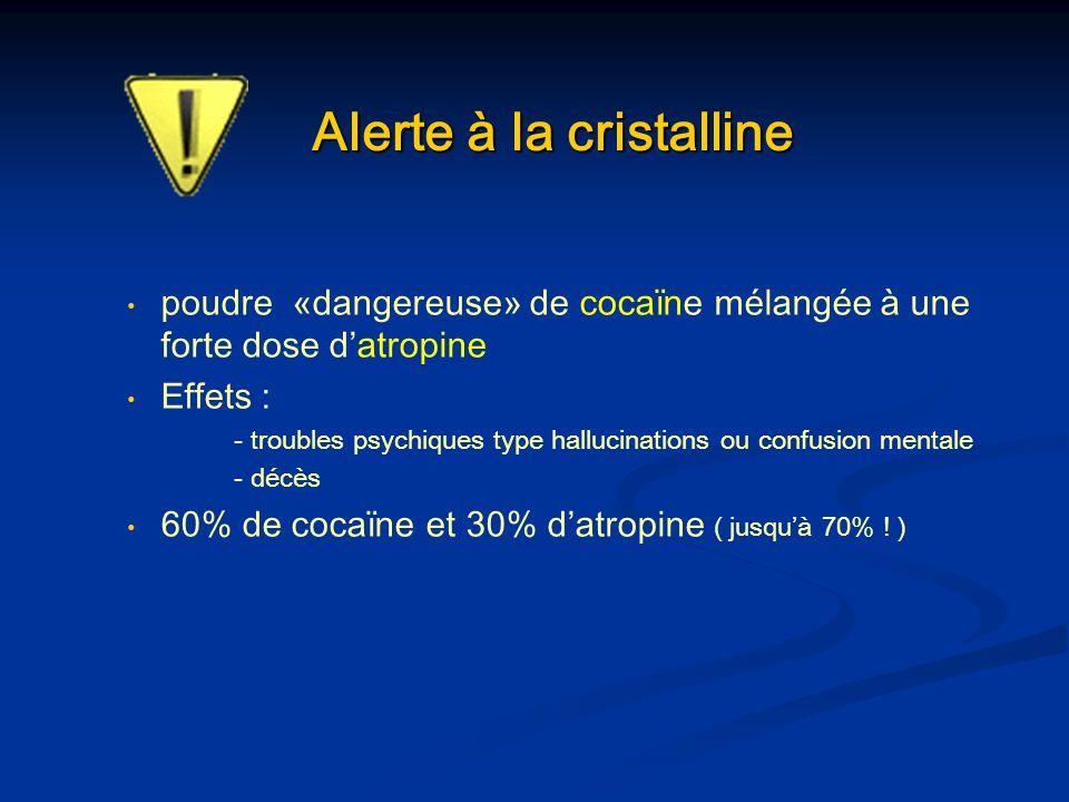Alerte à la cristalline poudre «dangereuse» de cocaïne mélangée à une forte dose datropine Effets : - troubles psychiques type hallucinations ou confu