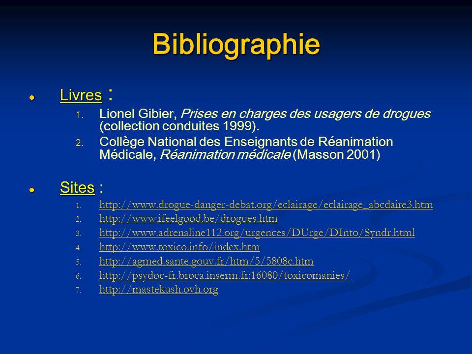 Bibliographie Livres Livres : 1. 1. Lionel Gibier, Prises en charges des usagers de drogues (collection conduites 1999). 2. 2. Collège National des En