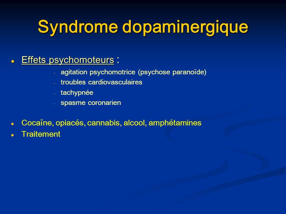 Syndrome dopaminergique Effets psychomoteurs Effets psychomoteurs : - - agitation psychomotrice (psychose paranoïde) - - troubles cardiovasculaires -