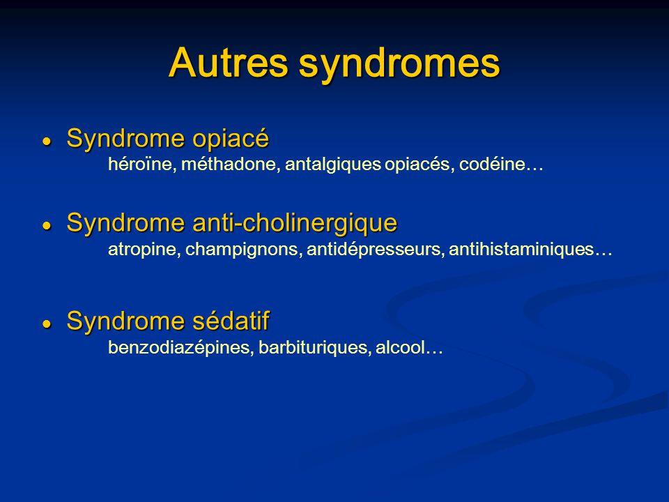 Autres syndromes Syndrome opiacé Syndrome opiacé héroïne, méthadone, antalgiques opiacés, codéine… Syndrome anti-cholinergique Syndrome anti-cholinerg