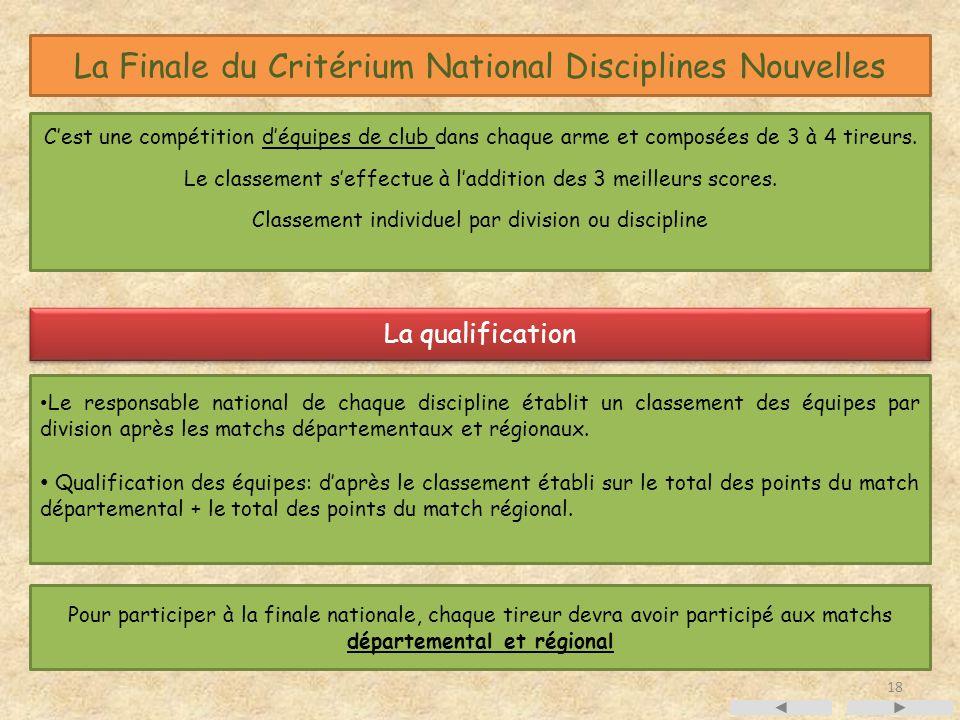 La Finale du Critérium National Disciplines Nouvelles Cest une compétition déquipes de club dans chaque arme et composées de 3 à 4 tireurs.