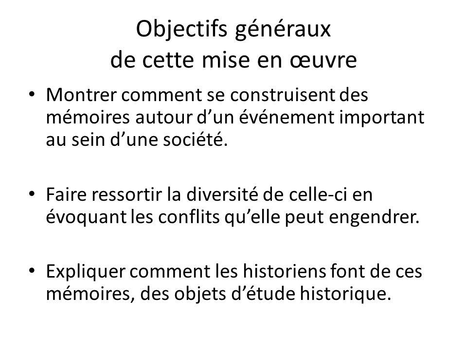 Objectifs généraux de cette mise en œuvre Montrer comment se construisent des mémoires autour dun événement important au sein dune société.