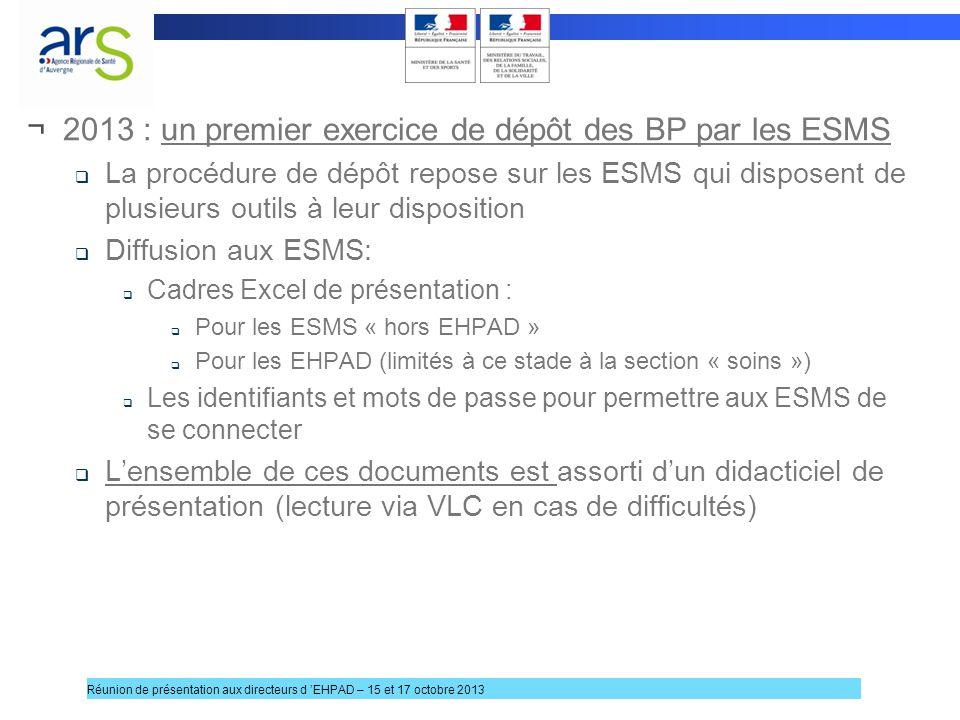 ¬2013 : un premier exercice de dépôt des BP par les ESMS La procédure de dépôt repose sur les ESMS qui disposent de plusieurs outils à leur dispositio