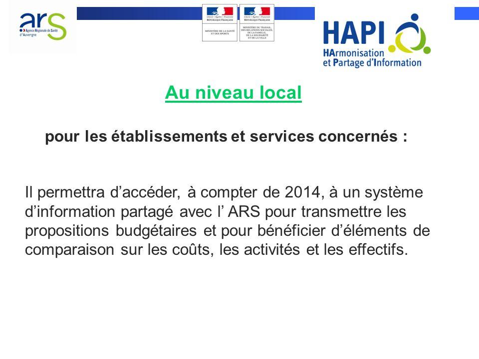 Au niveau local Il permettra daccéder, à compter de 2014, à un système dinformation partagé avec l ARS pour transmettre les propositions budgétaires e
