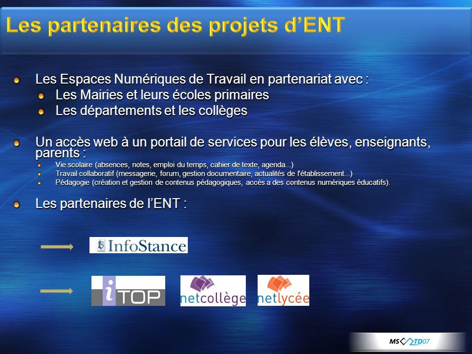 Les Espaces Numériques de Travail en partenariat avec : Les Mairies et leurs écoles primaires Les départements et les collèges Un accès web à un porta