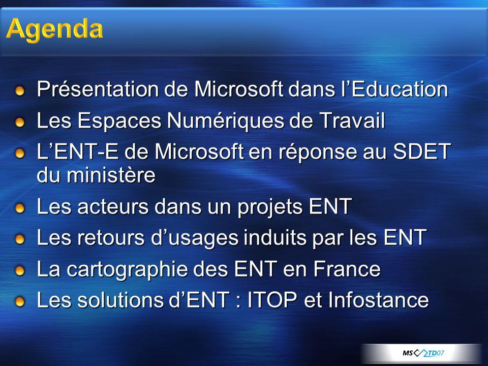 Présentation de Microsoft dans lEducation Les Espaces Numériques de Travail LENT-E de Microsoft en réponse au SDET du ministère Les acteurs dans un pr