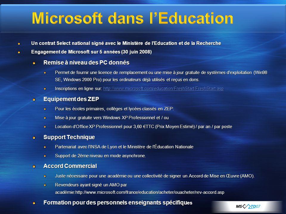 Un contrat Select national signé avec le Ministère de lEducation et de la Recherche Engagement de Microsoft sur 5 années (30 juin 2008) Remise à nivea