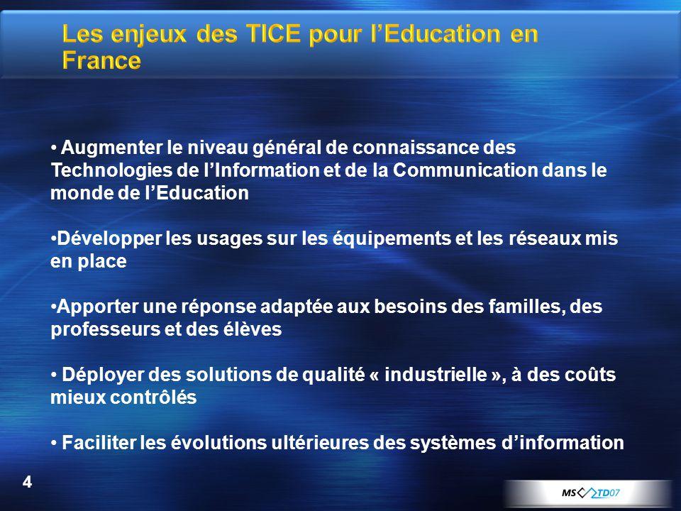 4 Augmenter le niveau général de connaissance des Technologies de lInformation et de la Communication dans le monde de lEducation Développer les usage