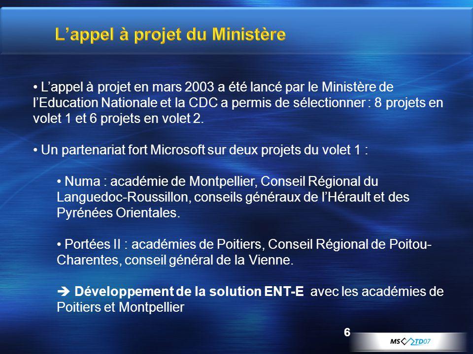 6 Lappel à projet en mars 2003 a été lancé par le Ministère de lEducation Nationale et la CDC a permis de sélectionner : 8 projets en volet 1 et 6 pro