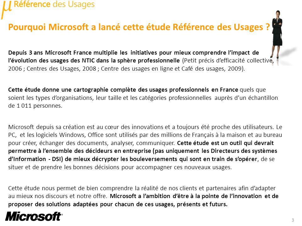 Pourquoi Microsoft a lancé cette étude Référence des Usages ? Depuis 3 ans Microsoft France multiplie les initiatives pour mieux comprendre limpact de