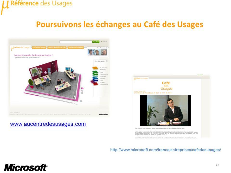 Poursuivons les échanges au Café des Usages 43 http://www.microsoft.com/france/entreprises/cafedesusages/ www.aucentredesusages.com