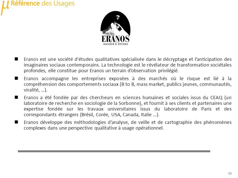 Eranos est une société d'études qualitatives spécialisée dans le décryptage et lanticipation des imaginaires sociaux contemporains. La technologie est