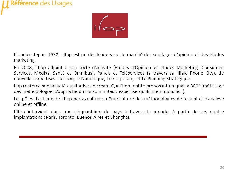 Pionnier depuis 1938, lIfop est un des leaders sur le marché des sondages dopinion et des études marketing.