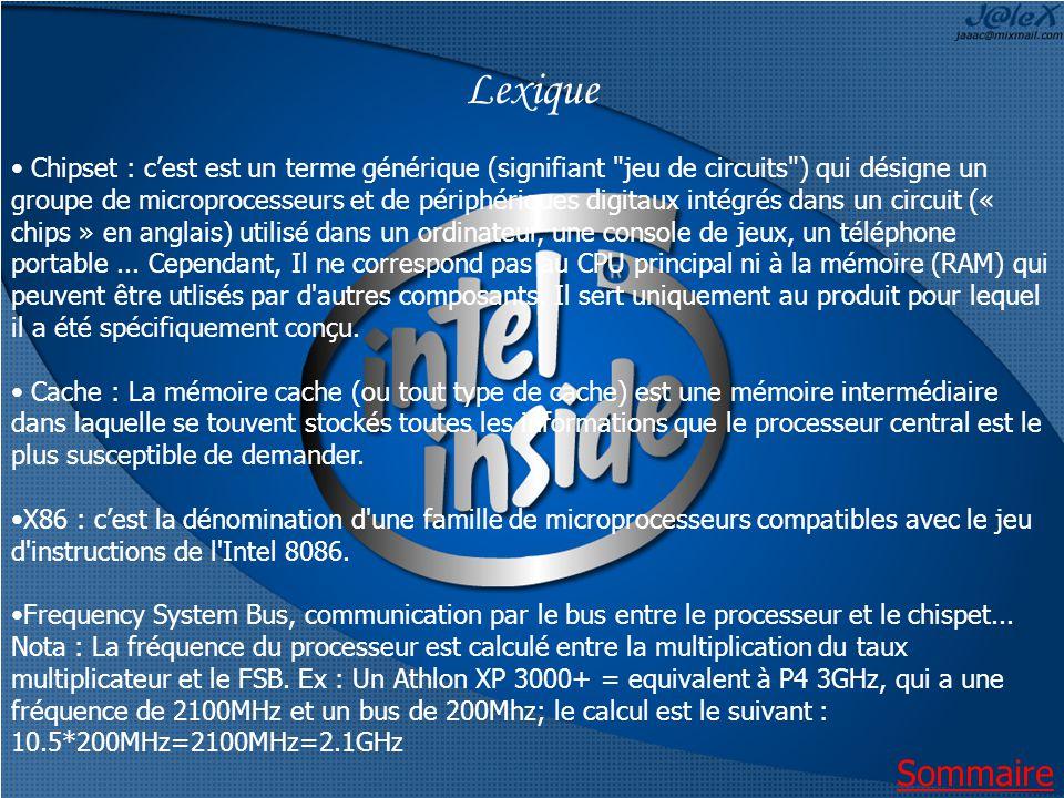 Lexique Chipset : cest est un terme générique (signifiant jeu de circuits ) qui désigne un groupe de microprocesseurs et de périphériques digitaux intégrés dans un circuit (« chips » en anglais) utilisé dans un ordinateur, une console de jeux, un téléphone portable...