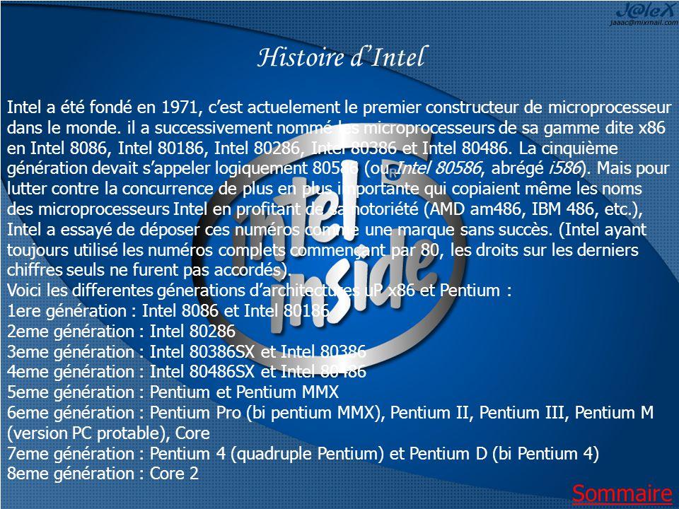 Histoire dIntel Intel a été fondé en 1971, cest actuelement le premier constructeur de microprocesseur dans le monde.