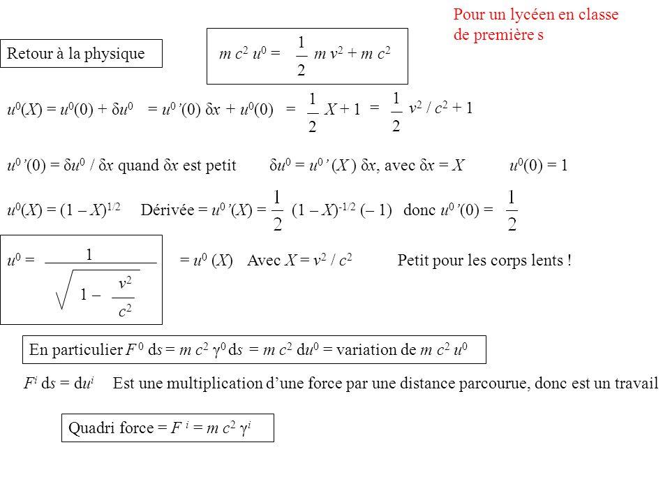 Quadri force = F i = m c 2 γ i F i ds = du i Est une multiplication dune force par une distance parcourue, donc est un travail En particulier F 0 ds = m c 2 γ 0 ds = m c 2 du 0 = variation de m c 2 u 0 u 0 = 1 1 – v2v2 c2c2 = u 0 (X)Avec X = v 2 / c 2 Petit pour les corps lents .