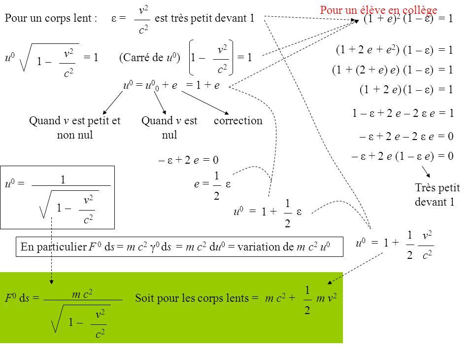 Pour un corps lent : v2v2 c2c2 est très petit devant 1ε = u0u0 1 – v2v2 c2c2 = 1 (Carré de u 0 )1 – v2v2 c2c2 = 1 u 0 = u 0 0 + e Quand v est petit et non nul Quand v est nul correction = 1 + e 1 – ε + 2 e – 2 ε e = 1 – ε + 2 e – 2 ε e = 0 (1 + e) 2 = 1 (1 – ε) (1 + 2 e + e 2 ) = 1(1 – ε) (1 + (2 + e) e)= 1(1 – ε) (1 + 2 e)= 1(1 – ε) – ε + 2 e (1 – ε e) = 0 Très petit devant 1 – ε + 2 e = 0 e = 1 2 εu0u0 = 1 + 1 2 ε u 0 = 1 1 – v2v2 c2c2 En particulier F 0 ds = m c 2 γ 0 ds = m c 2 du 0 = variation de m c 2 u 0 v2v2 c2c2 u0u0 =1 + 1 2 F 0 ds = m c 2 1 – v2v2 c2c2 Soit pour les corps lents =m c 2 + 1 2 m v 2 Pour un élève en collège
