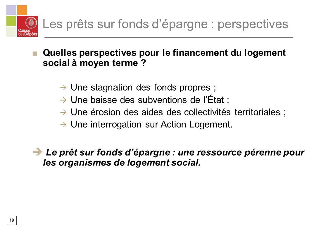 19 Les prêts sur fonds dépargne : perspectives Quelles perspectives pour le financement du logement social à moyen terme ? Une stagnation des fonds pr