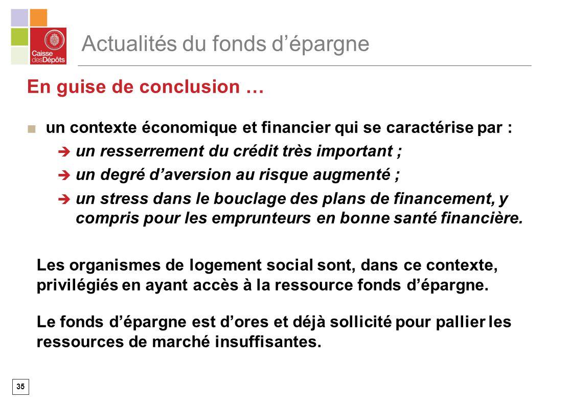 35 Actualités du fonds dépargne En guise de conclusion … un contexte économique et financier qui se caractérise par : un resserrement du crédit très i