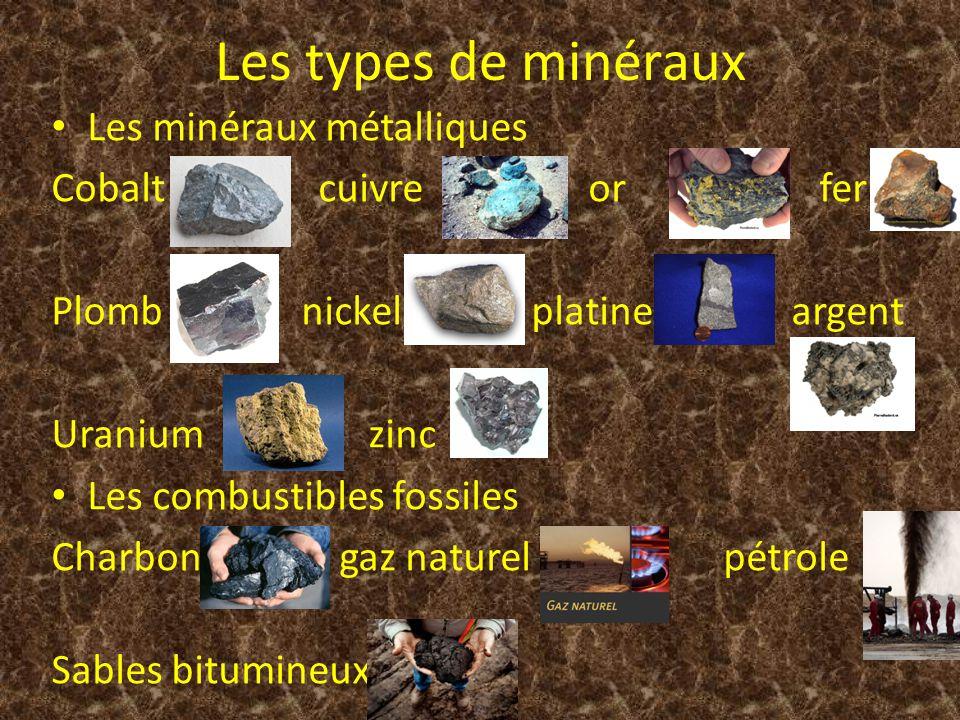 Les types de minéraux Les minéraux métalliques Cobalt cuivre or fer Plomb nickel platine argent Uranium zinc Les combustibles fossiles Charbon gaz nat
