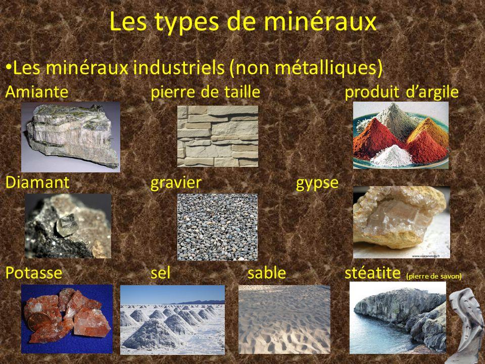 Les minéraux industriels (non métalliques) Amiantepierre de tailleproduit dargile Diamantgraviergypse Potasseselsablestéatite (pierre de savon) Les ty