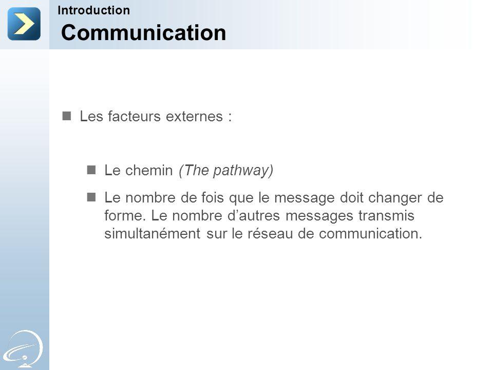 Communication Introduction Les facteurs externes : Le chemin (The pathway) Le nombre de fois que le message doit changer de forme. Le nombre dautres m