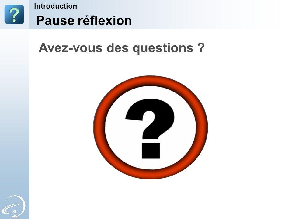 Pause réflexion Introduction Avez-vous des questions ?