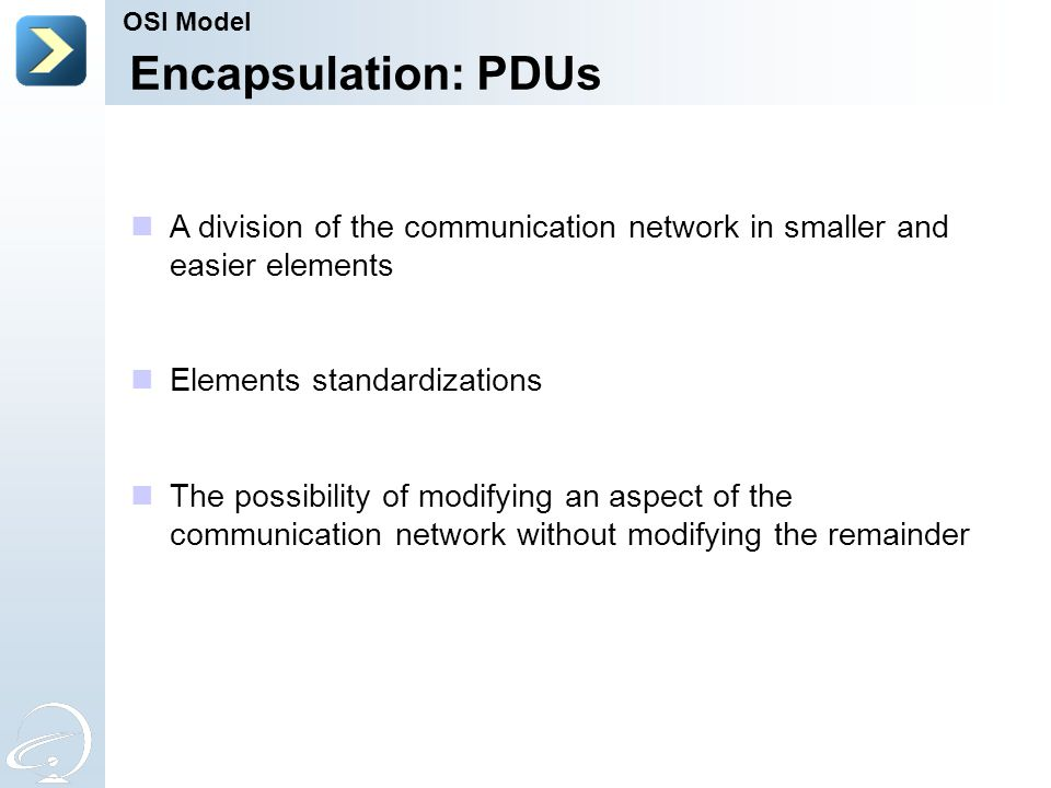 Encapsulation: PDUs A division of the communication network in smaller and easier elements Elements standardizations The possibility of modifying an a