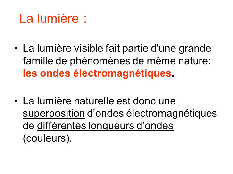 La lumière visible fait partie d'une grande famille de phénomènes de même nature: les ondes électromagnétiques. La lumière naturelle est donc une supe
