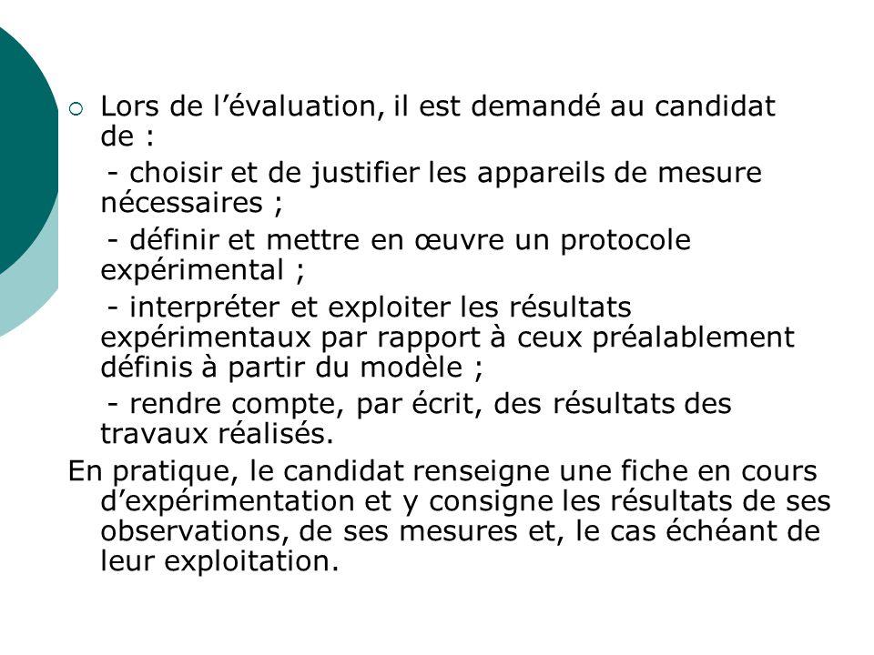 Lors de lévaluation, il est demandé au candidat de : - choisir et de justifier les appareils de mesure nécessaires ; - définir et mettre en œuvre un p
