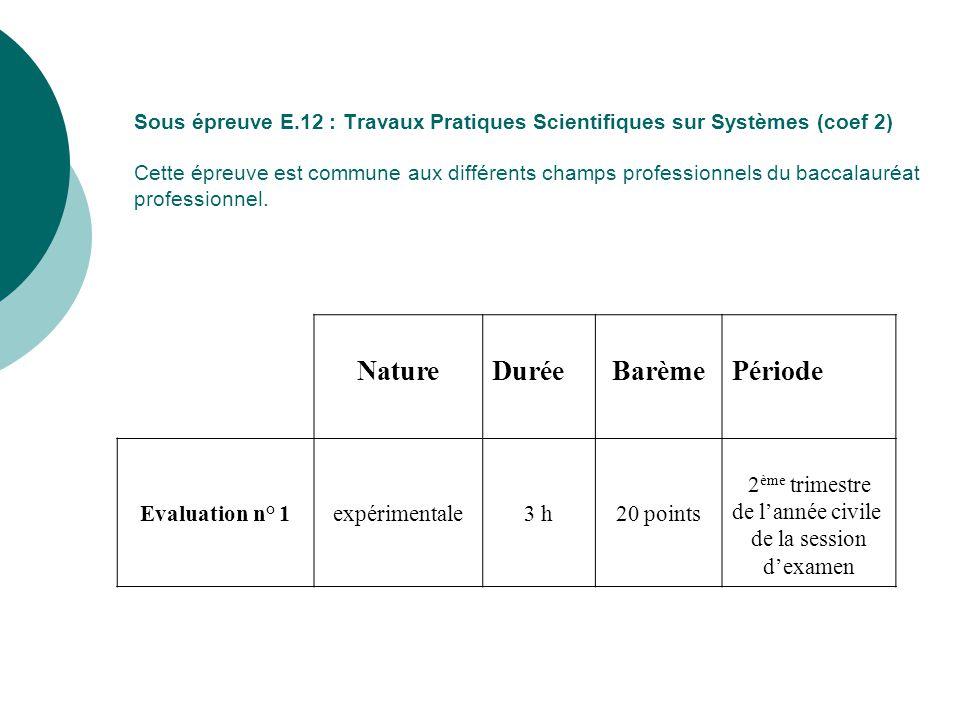 Sous épreuve E.12 : Travaux Pratiques Scientifiques sur Systèmes (coef 2) Cette épreuve est commune aux différents champs professionnels du baccalauréat professionnel.