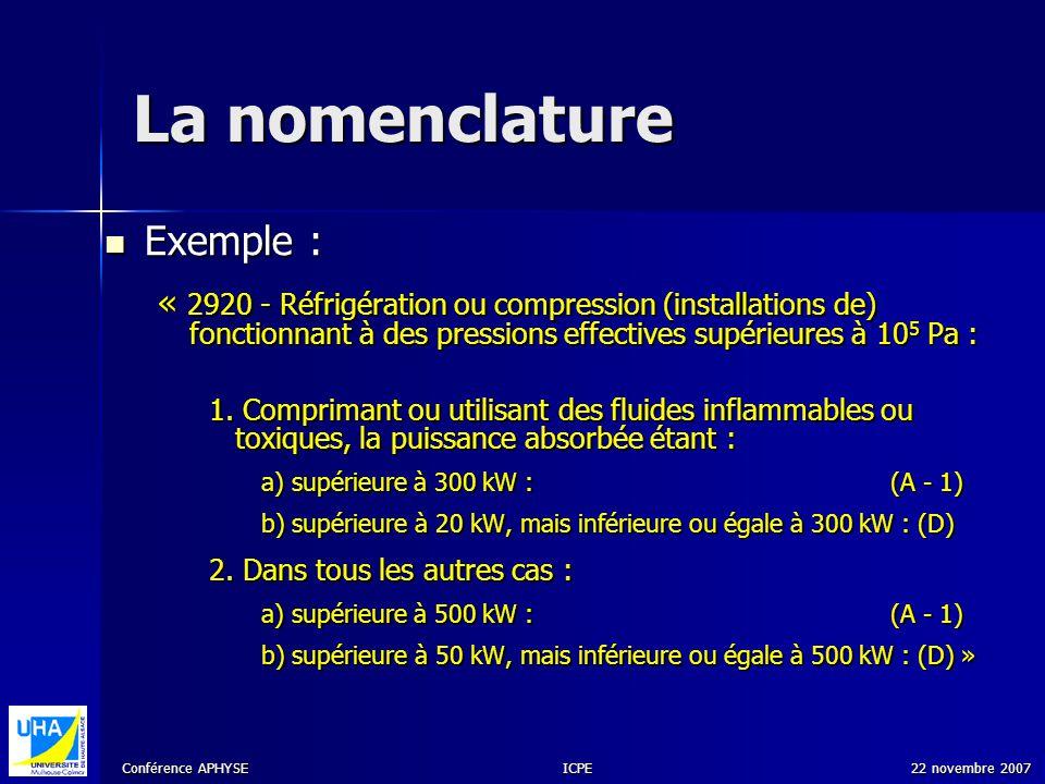 Conférence APHYSE 22 novembre 2007ICPE La nomenclature Exemple : Exemple : « 2920 - Réfrigération ou compression (installations de) fonctionnant à des