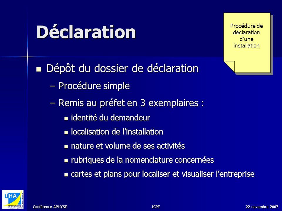 Conférence APHYSE 22 novembre 2007ICPE Déclaration Dépôt du dossier de déclaration Dépôt du dossier de déclaration –Procédure simple –Remis au préfet