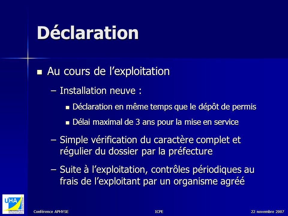 Conférence APHYSE 22 novembre 2007ICPE Déclaration Au cours de lexploitation Au cours de lexploitation –Installation neuve : Déclaration en même temps