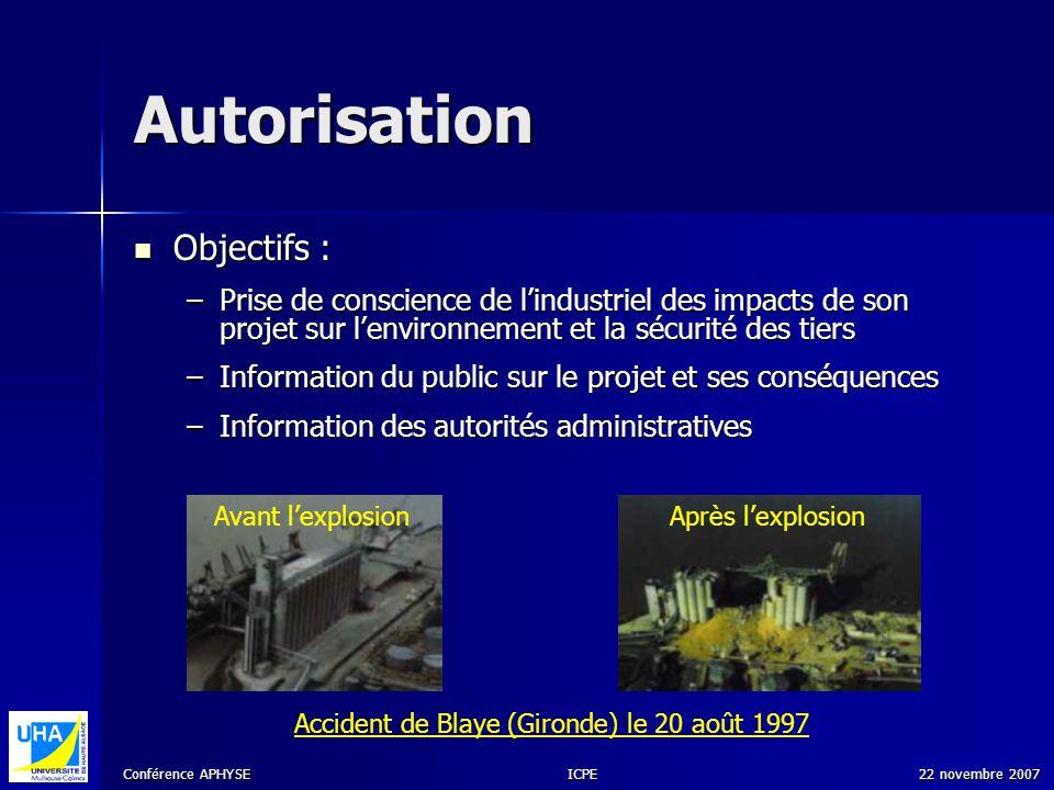 Conférence APHYSE 22 novembre 2007ICPE Autorisation Objectifs : Objectifs : –Prise de conscience de lindustriel des impacts de son projet sur lenviron