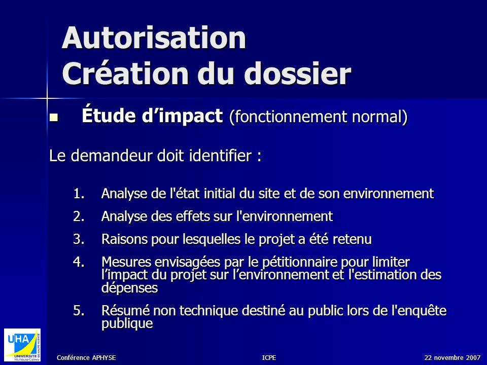 Conférence APHYSE 22 novembre 2007ICPE Autorisation Création du dossier Étude dimpact (fonctionnement normal) Étude dimpact (fonctionnement normal) Le