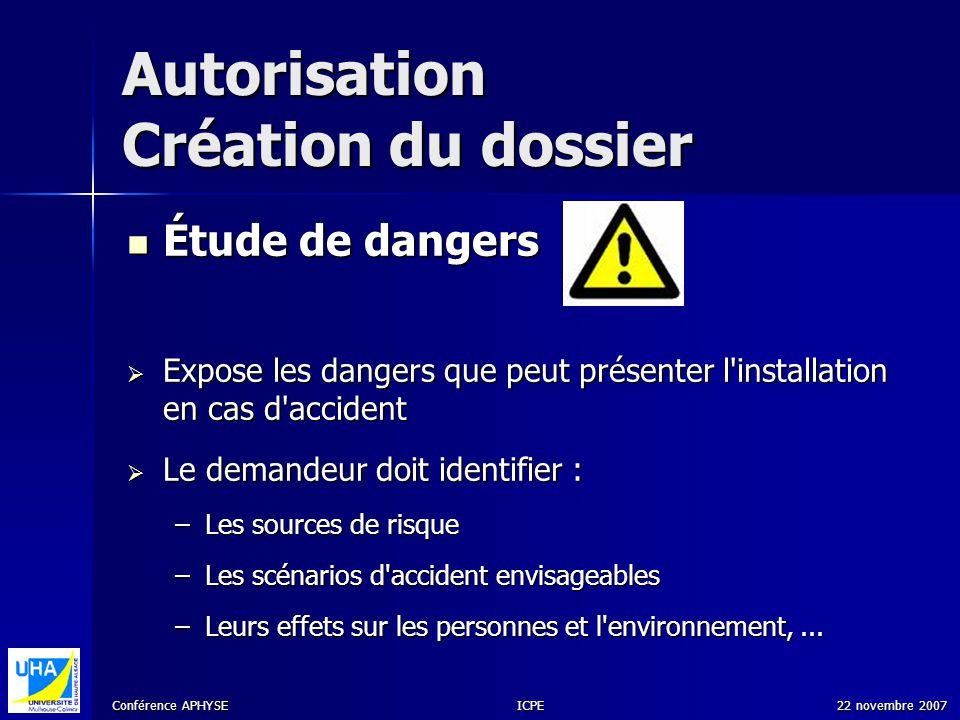 Conférence APHYSE 22 novembre 2007ICPE Autorisation Création du dossier Étude de dangers Étude de dangers Expose les dangers que peut présenter l'inst