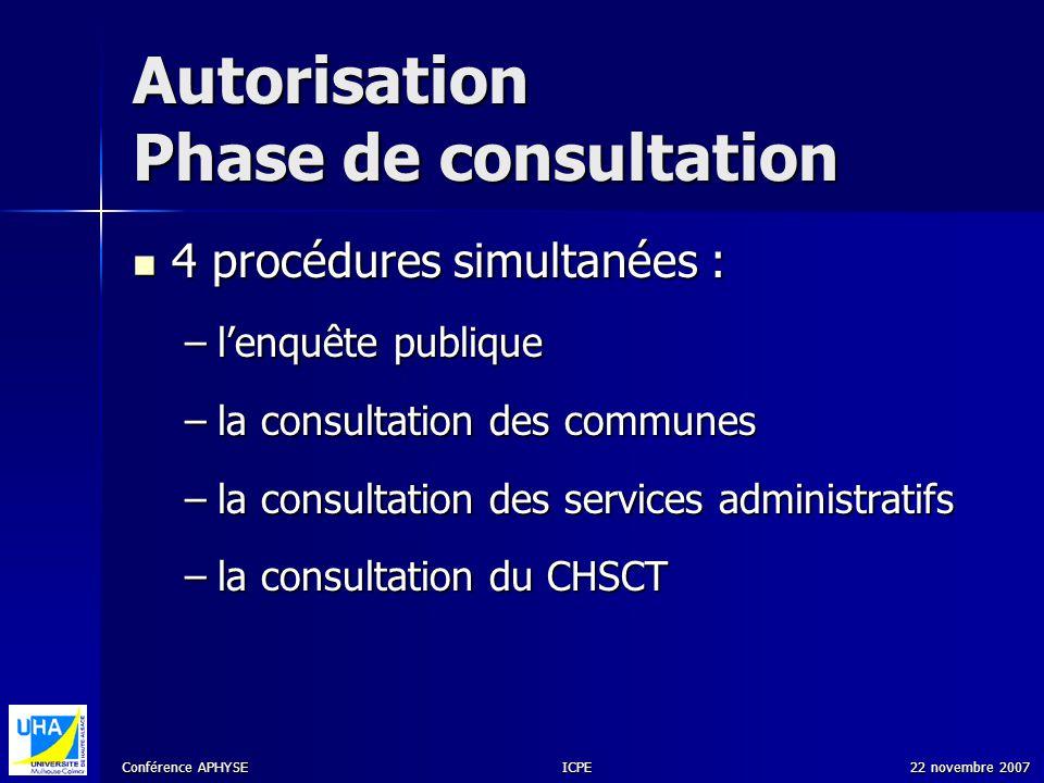 Conférence APHYSE 22 novembre 2007ICPE Autorisation Phase de consultation 4 procédures simultanées : 4 procédures simultanées : –lenquête publique –la