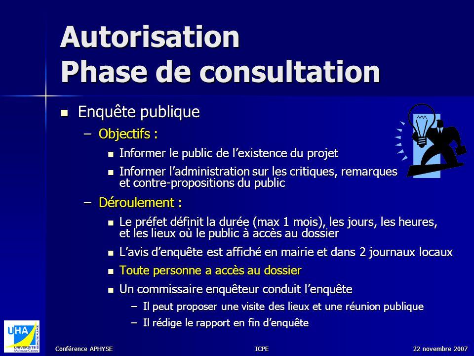 Conférence APHYSE 22 novembre 2007ICPE Autorisation Phase de consultation Enquête publique Enquête publique –Objectifs : Informer le public de lexiste