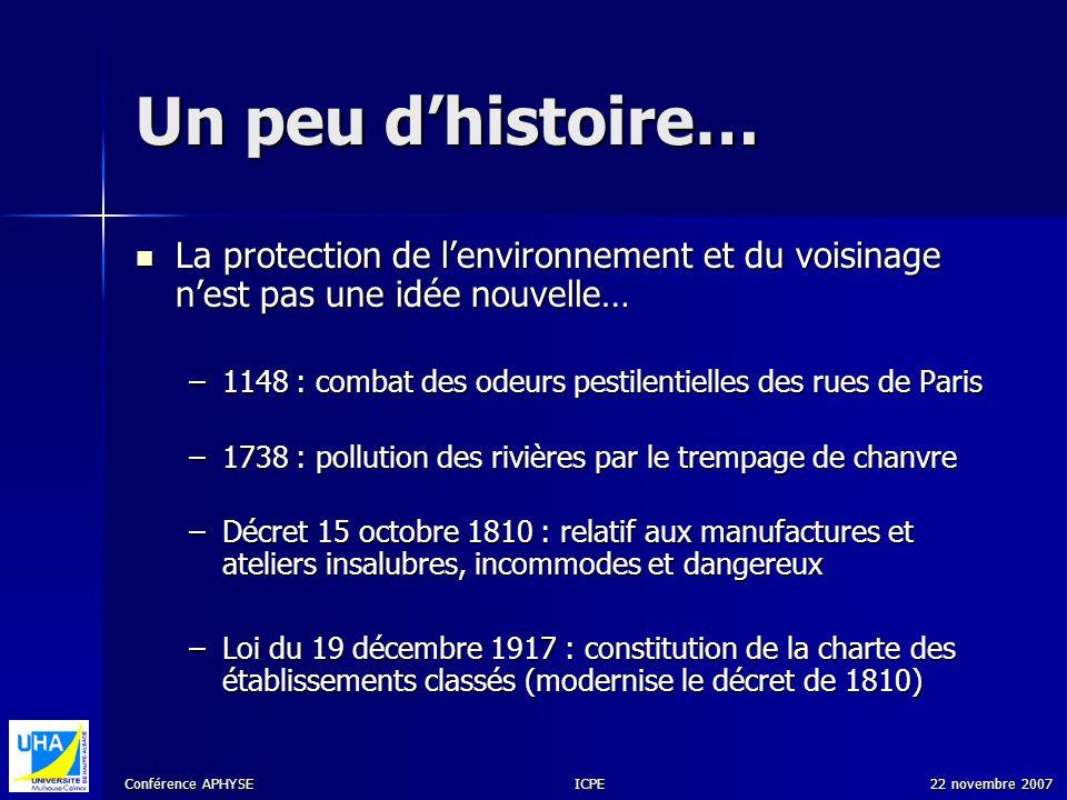 Conférence APHYSE 22 novembre 2007ICPE Réglementation actuelle Loi n° 76-663 du 19 juillet 1976 Loi n° 76-663 du 19 juillet 1976 Le Code de lEnvironnement, publié le 18 septembre 2001 Le Code de lEnvironnement, publié le 18 septembre 2001 Arrêté du 10 mai 2000 Arrêté du 10 mai 2000 Décret du 29 décembre 2000 Décret du 29 décembre 2000